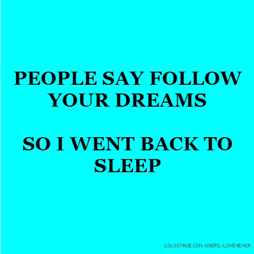 PEOPLE SAY FOLLOW YOUR DREAMS SO I WENT BACK TO SLEEP