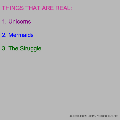THINGS THAT ARE REAL: 1. Unicorns 2. Mermaids 3. The Struggle