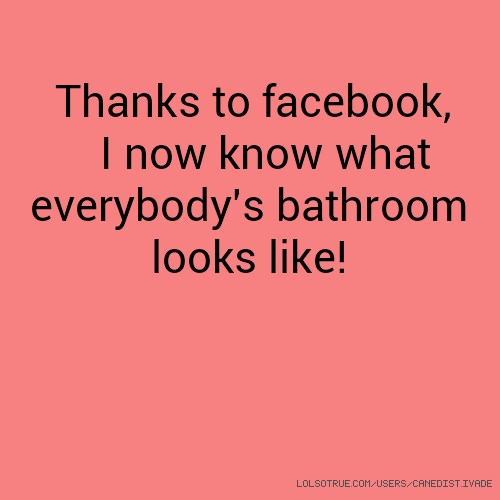 Thanks to facebook, I now know what everybody's bathroom looks like!