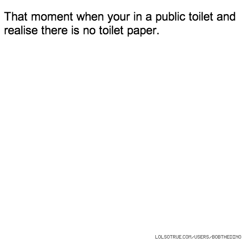 That moment when your in a public toilet and realise there is no toilet paper.