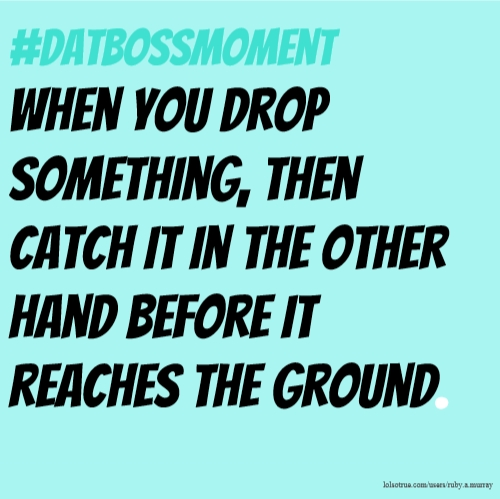 #datbossmoment when you drop something, then catch it in the other hand before it reaches the ground.