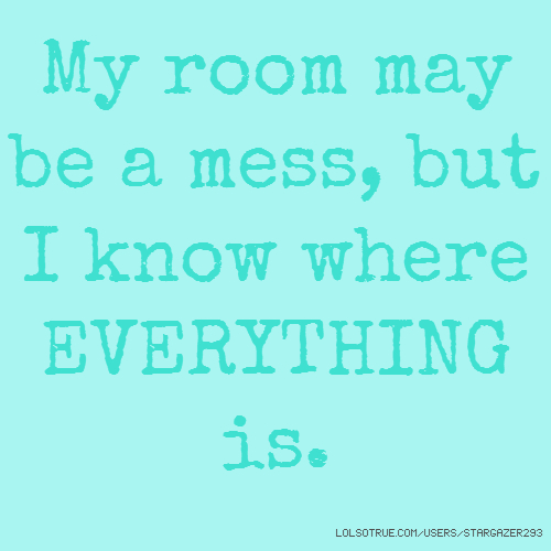 My room may be a mess, but I know where EVERYTHING is.