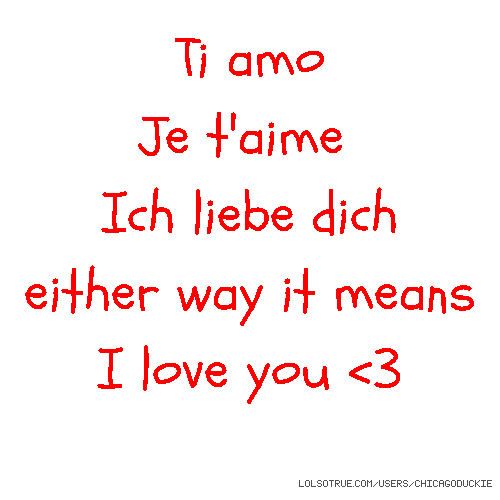 Ti amo Je t'aime Ich liebe dich either way it means I love you <3
