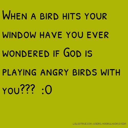 When a bird hits your window have you ever wondered if God is playing angry birds with you??? :O