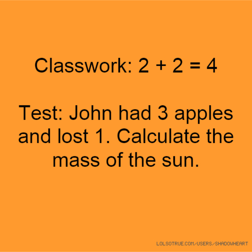 Classwork: 2 + 2 = 4 Test: John had 3 apples and lost 1. Calculate the mass of the sun.
