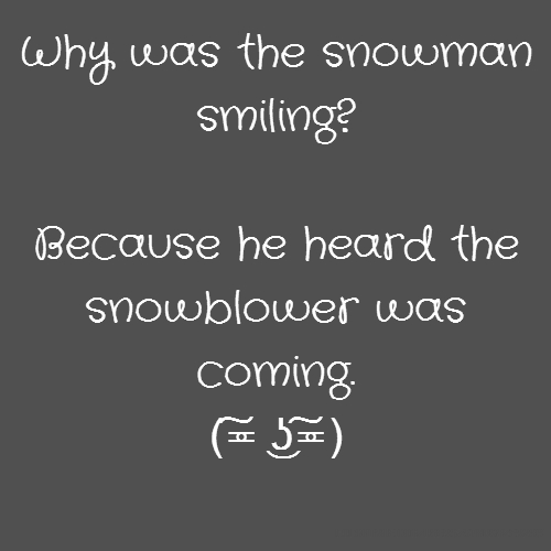 Why was the snowman smiling? Because he heard the snowblower was coming. (͠≖ ͜ʖ͠≖)
