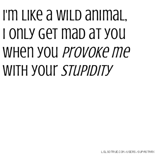I'm like a wild animal, I only get mad at you when you provoke me with your stupidity
