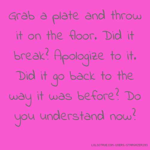 Grab a plate and throw it on the floor. Did it break? Apologize to it. Did it go back to the way it was before? Do you understand now?