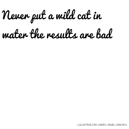 Never put a wild cat in water the results are bad