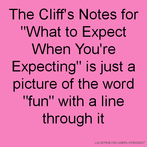 """The Cliff's Notes for """"What to Expect When You're Expecting"""" is just a picture of the word """"fun"""" with a line through it"""