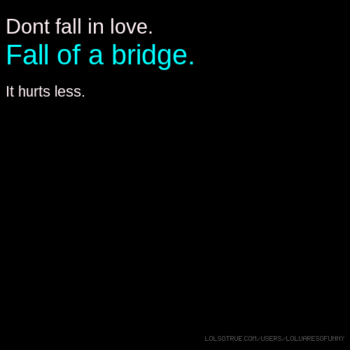 Dont fall in love. Fall of a bridge. It hurts less.