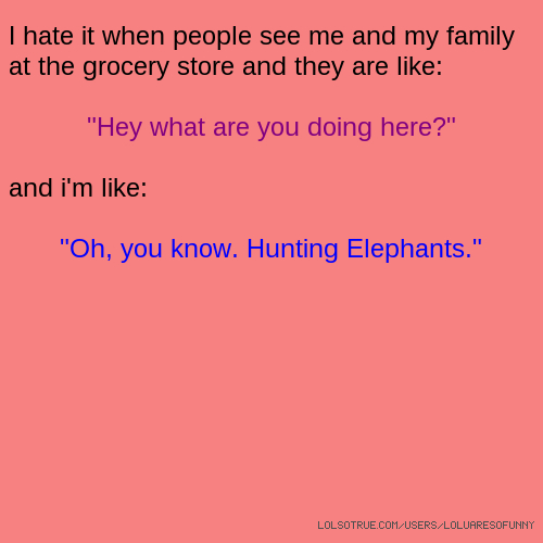 "I hate it when people see me and my family at the grocery store and they are like: ""Hey what are you doing here?"" and i'm like: ""Oh, you know. Hunting Elephants."""