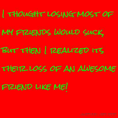 I thought losing most of my friends would suck, but then I realized its their loss of an awesome friend like me!