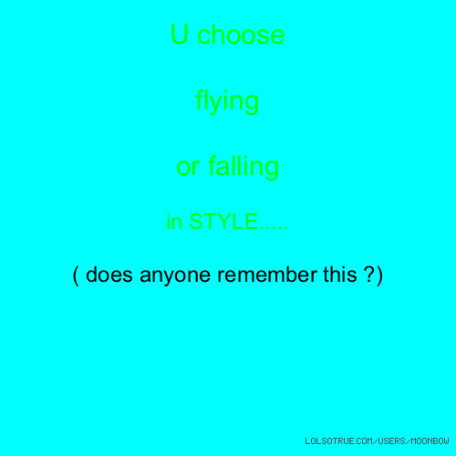U choose flying or falling in STYLE..... ( does anyone remember this ?)