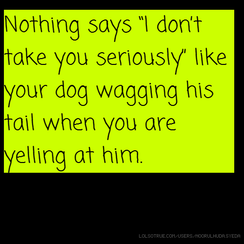 "Nothing says ""I don't take you seriously"" like your dog wagging his tail when you are yelling at him."