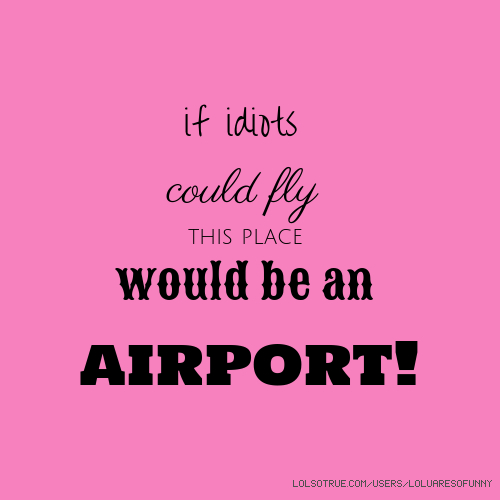 if idiots could fly this place would be an airport!