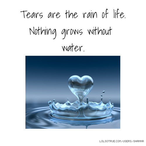 Without U My Life Is Nothing Quotes: Tears Are The Rain Of Life. Nothing Grows Without Water