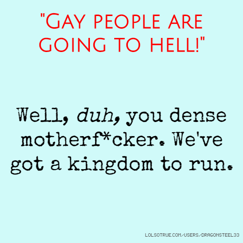 Gay people going to hell