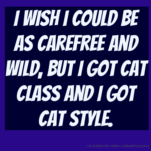 I wish I could be as carefree and wild, but I got cat class and I got cat style.