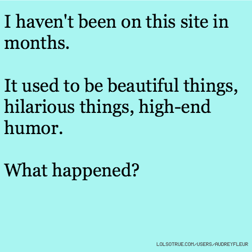 I haven't been on this site in months. It used to be beautiful things, hilarious things, high-end humor. What happened?
