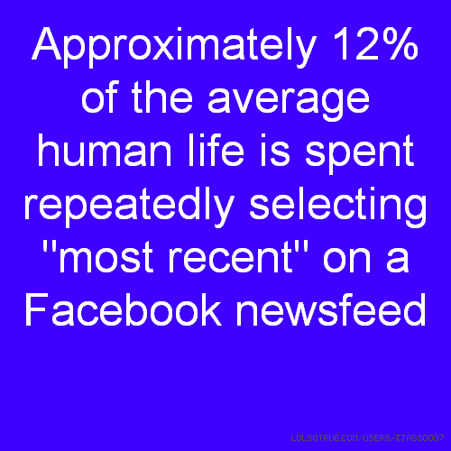 "Approximately 12% of the average human life is spent repeatedly selecting ""most recent"" on a Facebook newsfeed"
