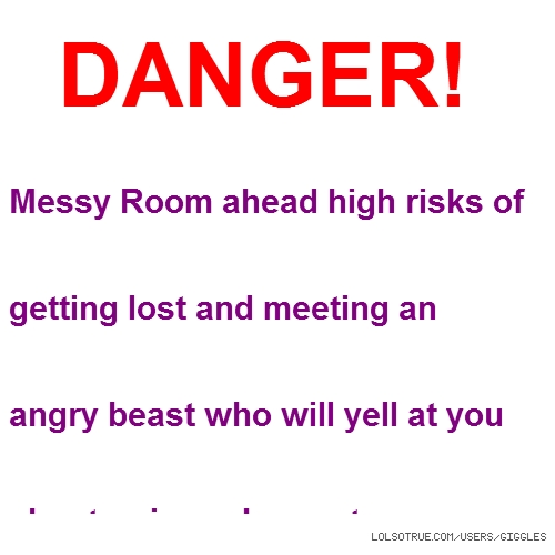 DANGER! Messy Room ahead high risks of getting lost and meeting an angry beast who will yell at you about privacy I repeat Danger! turn around and leave before it is to late.