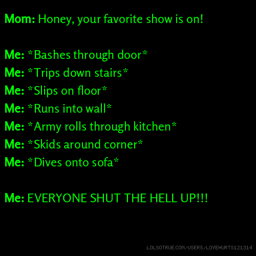 Mom: Honey, your favorite show is on! Me: *Bashes through door* Me: *Trips down stairs* Me: *Slips on floor* Me: *Runs into wall* Me: *Army rolls through kitchen* Me: *Skids around corner* Me: *Dives onto sofa* Me: EVERYONE SHUT THE HELL UP!!!
