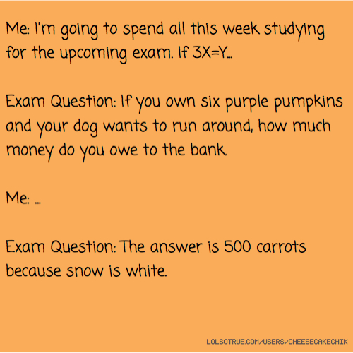 Me: I'm going to spend all this week studying for the upcoming exam. If 3X=Y... Exam Question: If you own six purple pumpkins and your dog wants to run around, how much money do you owe to the bank. Me: ... Exam Question: The answer is 500 carrots because snow is white.