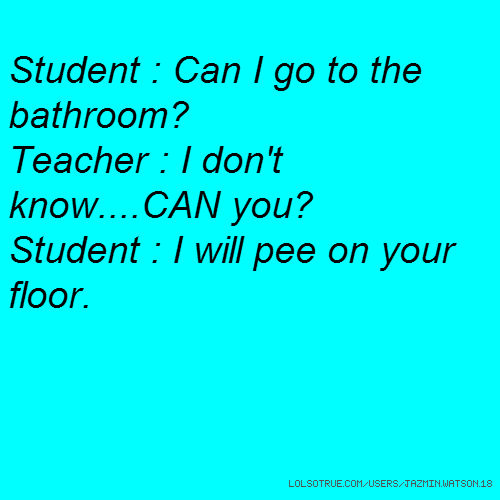 Student : Can I go to the bathroom? Teacher : I don't know....CAN you? Student : I will pee on your floor.