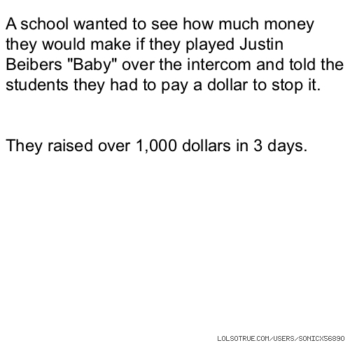 "A school wanted to see how much money they would make if they played Justin Beibers ""Baby"" over the intercom and told the students they had to pay a dollar to stop it. They raised over 1,000 dollars in 3 days."