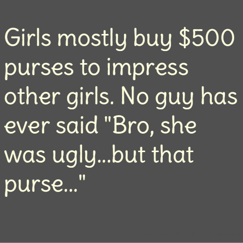 """Girls mostly buy $500 purses to impress other girls. No guy has ever said """"Bro, she was ugly...but that purse..."""""""