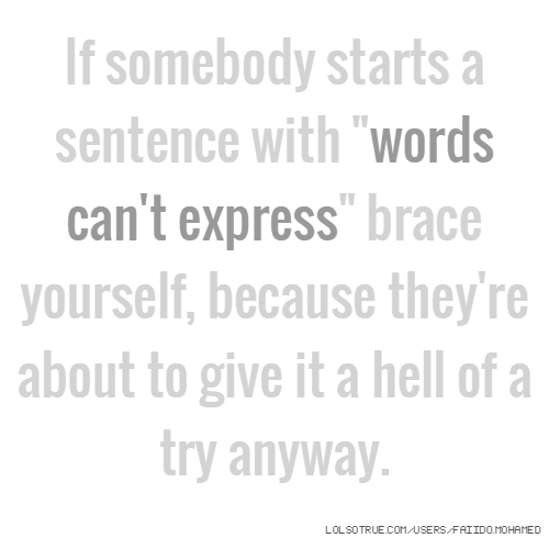 """If somebody starts a sentence with """"words can't express"""" brace yourself, because they're about to give it a hell of a try anyway."""