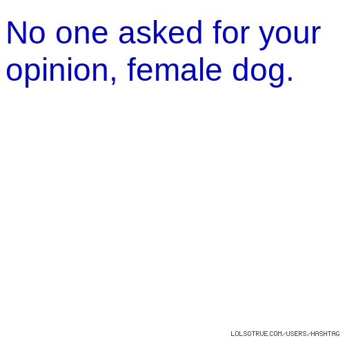 No one asked for your opinion, female dog.