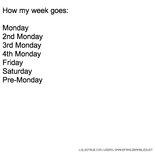 How my week goes: Monday 2nd Monday 3rd Monday 4th Monday Friday Saturday Pre-Monday