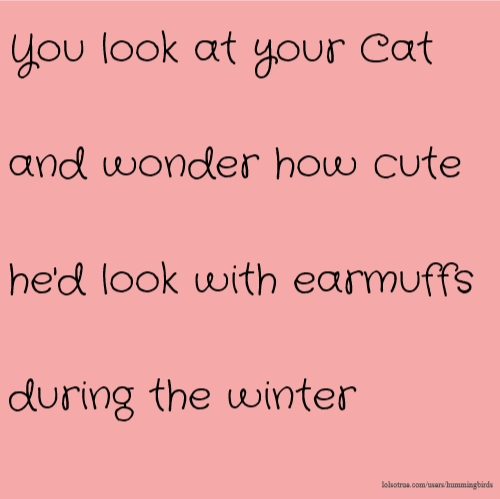 You look at your Cat and wonder how cute he'd look with earmuffs during the winter