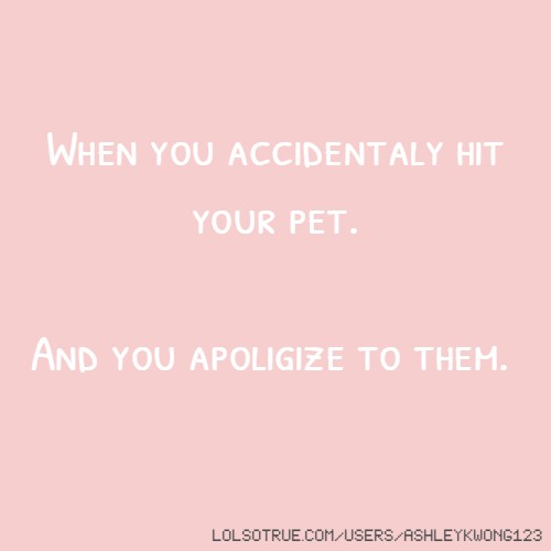When you accidentaly hit your pet. And you apoligize to them.