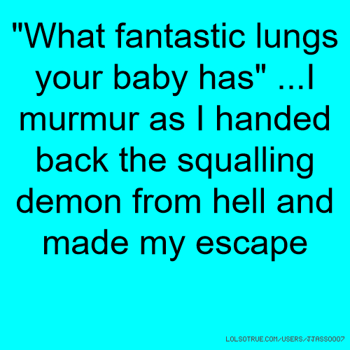 """""""What fantastic lungs your baby has"""" ...I murmur as I handed back the squalling demon from hell and made my escape"""