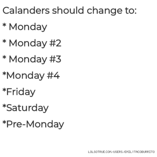 Calanders should change to: