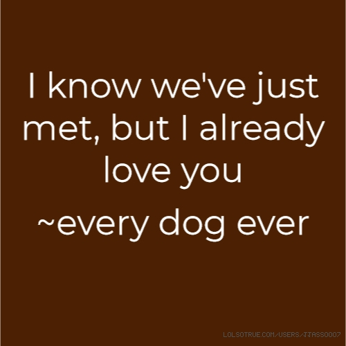 I know we've just met, but I already love you
