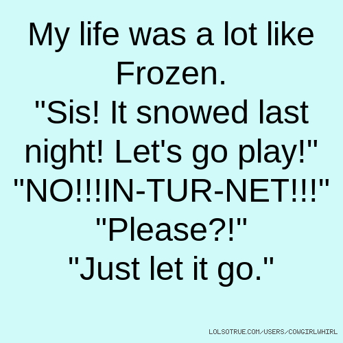 """My life was a lot like Frozen. """"Sis! It snowed last night! Let's go play!"""" """"NO!!!IN-TUR-NET!!!"""" """"Please?!"""" """"Just let it go."""""""