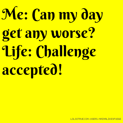 Me: Can my day get any worse? Life: Challenge accepted!
