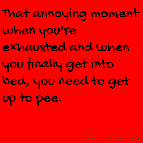 That annoying moment when you're exhausted and when you finally get into bed, you need to get up to pee.