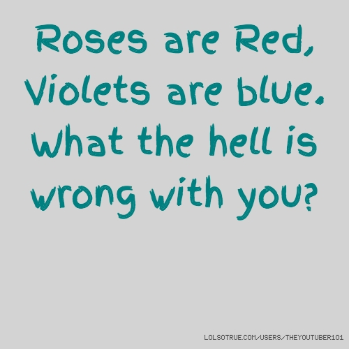 Roses are Red, Violets are blue. What the hell is wrong with you?
