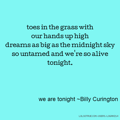 toes in the grass with our hands up high dreams as big as the midnight sky so untamed and we're so alive tonight. we are tonight ~Billy Curington