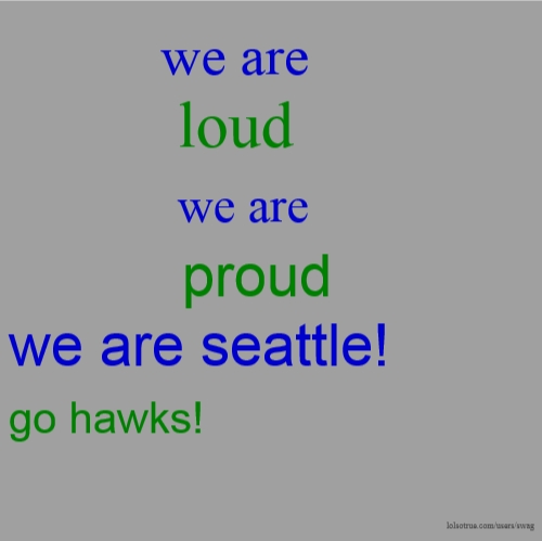we are loud we are proud we are seattle! go hawks!