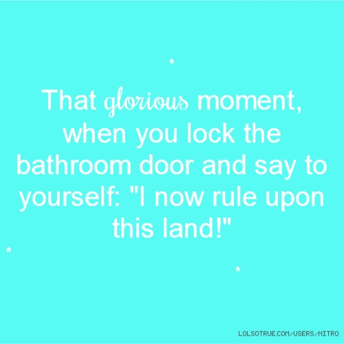 "* That glorious moment, when you lock the bathroom door and say to yourself: ""I now rule upon this land!"" * *"