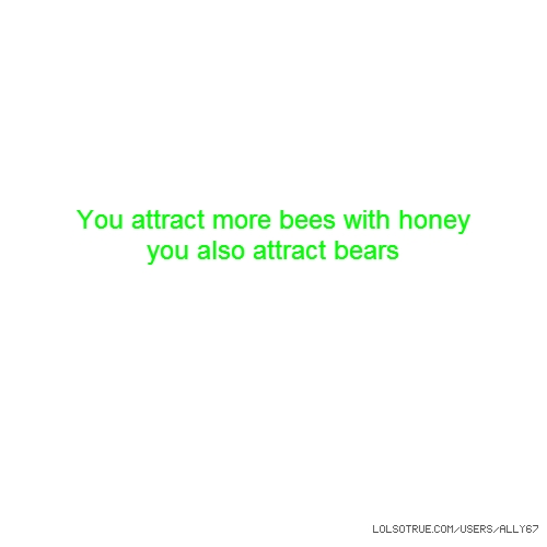 You attract more bees with honey you also attract bears