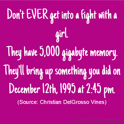 Don't EVER get into a fight with a girl. They have 5,000 gigabyte memory. They'll bring up something you did on December 12th, 1995 at 2:45 pm. (Source: Christian DelGrosso Vines)