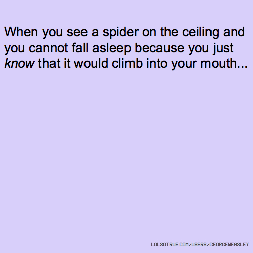 When you see a spider on the ceiling and you cannot fall asleep because you just know that it would climb into your mouth...