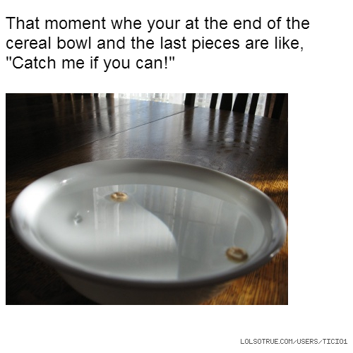 "That moment whe your at the end of the cereal bowl and the last pieces are like, ""Catch me if you can!"""